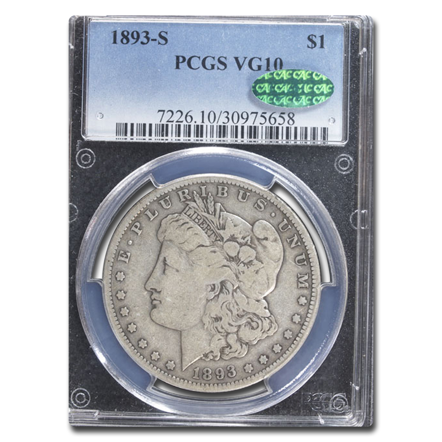 1893-S Morgan Dollar Very Good-10 PCGS - CAC